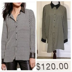 NWT! Ralph Lauren Houndstooth Faux Leather Shirt